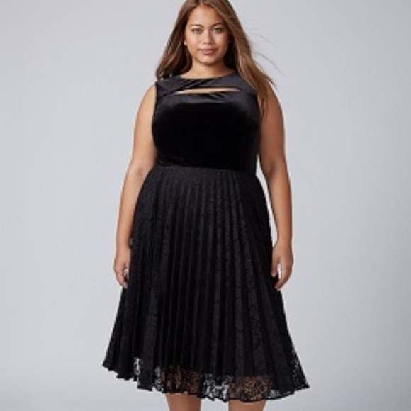 14325f62044 Lane Bryant Plus Black VELVET Pleated Lace Dress